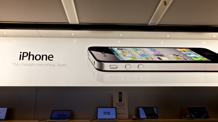 steve: iPhone sign, Apple Store Editorial