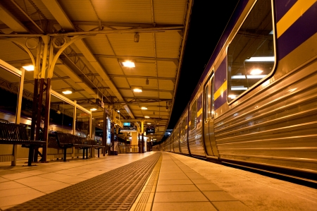 Train Stopped at train station at night
