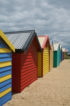 Row of colorful beach huts in Melbourne, Australia