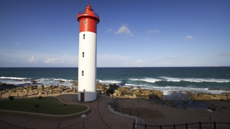 south coast: Lighthouse in Umhlanga Near Durban on the East Coast of South Africa Stock Photo