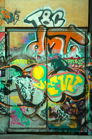 Graffiti on a door, urban city