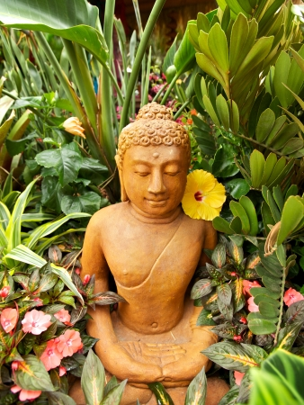 stone buddha: Buddha statue in a zen garden