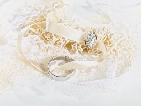 Wedding rings with fabric and ribbons Stock Photo - 17050194