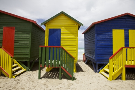 painted wood: Bright painted painted beach huts, Cape Town