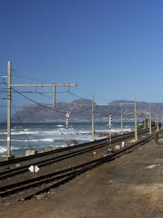 Railroad tracks beside the coast in Cape Town