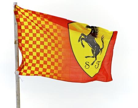 ferrari: MELBOURNE, AUSTRALIA - CIRCA 2010: A Grand Prix Ferrari Flag Massa and Alonso Bridgestone Potenza Annual Formula One Race Event. 27 March 2010
