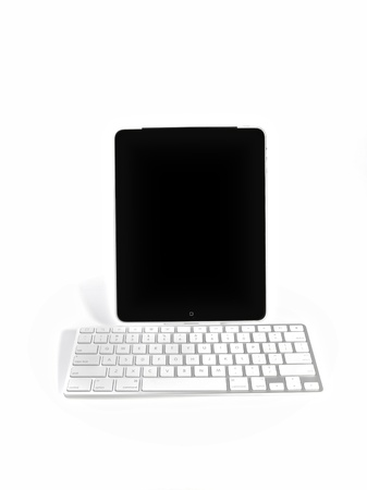 Apple Ipad Computer tablet with a keyboard, isolated on white background