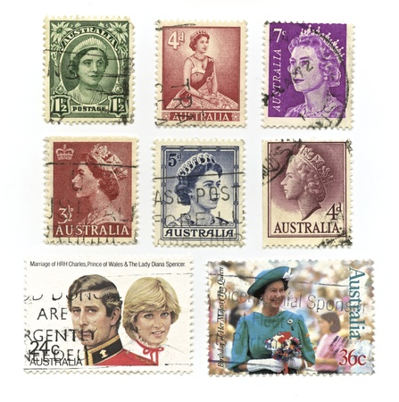 lady diana: Queen Elizabeth, Prince Charles and Lady Diana Spencer Stamps Editorial
