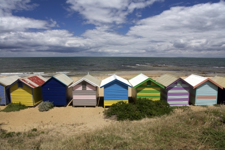 beach hut: Colorful Beach Huts at Brighton Beach Near Melbourne Australia Stock Photo