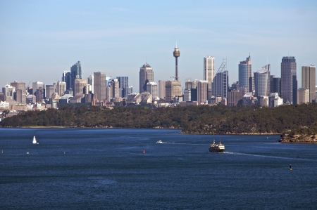 port jackson: Sydney, north head view with city skyline in the background in Australia