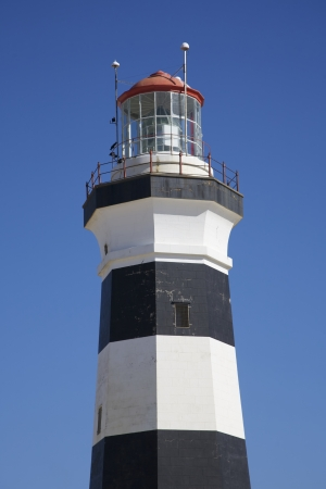 build in: Black and White Lighthouse Called Cape Recife Lighthouse Build in 1849 Port Elizabeth South Africa