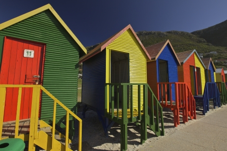 beach hut: Colourful Wooden Changing Cabins at the Beach St James Beach Cape Town Stock Photo