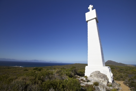whittle: Coastal Llook out near Cape Town, Cape Point - Vasca da Gama and Bartholomeu Dias Cross  Landmark discovered the sea route from Africa to India Stock Photo