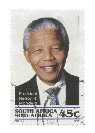 mandela: South Africa - President Nelson Mandela stamp becoming South African first black president, Pretoria 1994 05 10