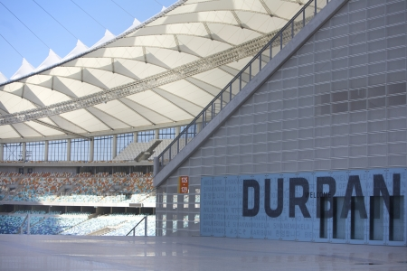 One of the new Stadiums Built in Preparation for the 2010 Fifa Soccer World cup to be Held in South Africa In the City of Durban the Moses Mabhida Stadium