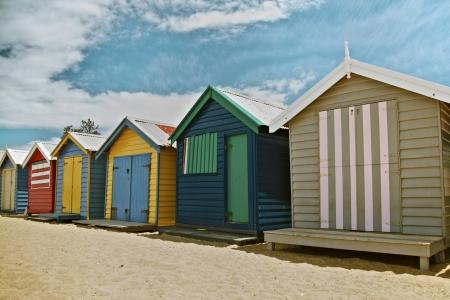 brighton beach: Colorful Beach Huts at Beach in Melbourne, Australia