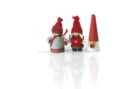 dutch girl: Christmas Festive Season Figures in a row Stock Photo