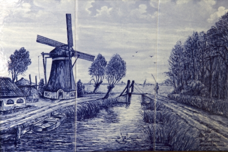 dyke: Delft tiles in Netherlands, Holland, Europe