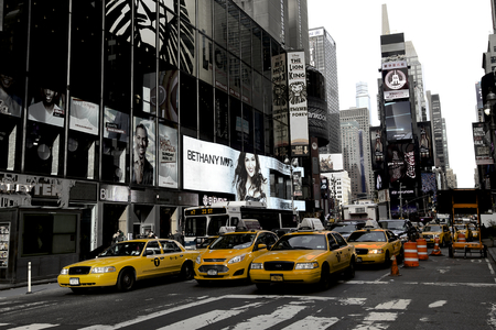futuristic city: New York, Broadway and yellow cabs