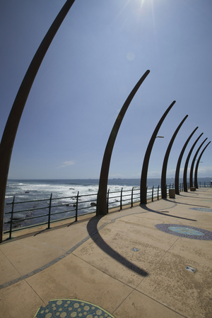 kwazulu natal: Side view from pier at Umhlanga Rocks in Durban, South Africa
