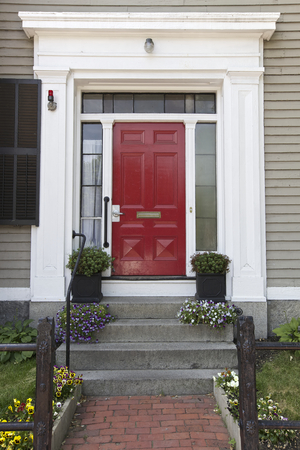 Red Door, Home in Boston, USA Stock Photo