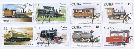 CUBA - CIRCA 1996 - 1980: stamp printed in Cuba shows a collection locomotive and train designs
