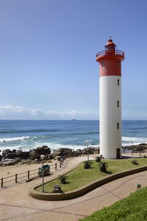 Vuurtoren in Umhlanga nabij Durban aan de oostkust van Zuid-Afrika Stockfoto