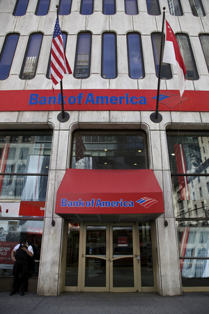 Bank of America in New York, United States of America - JUNE 06: Bank of America branch in New York, United States America on June 06, 2014.Billion fine to settle allegations sold toxic mortgages to investors.Photo taken on: June 06th, 2014