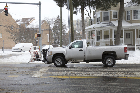 driving conditions: Snow removal clearing roads in Connecticut, Winter storm
