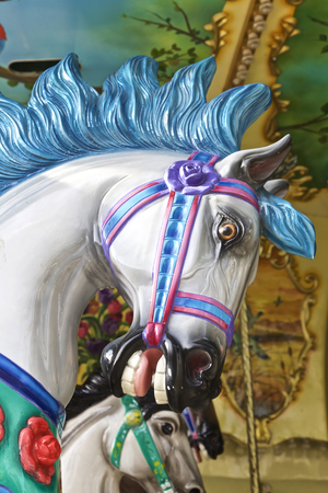 carousel horse: Carousel horse ride, close up view