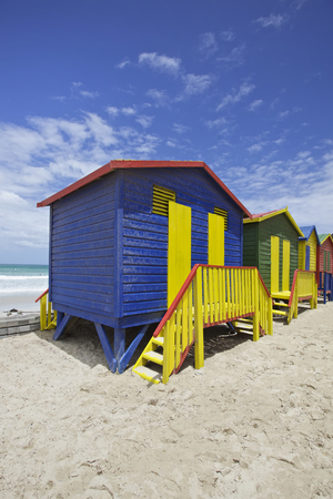 south beach: Row of painted beach huts in Cape Town, South Africa