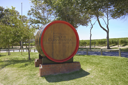 Groot Constantia Estate in Cape Town, South Africa. Groot Constantia, the finest producing vineyard, founded in 1685 Wine Barrel.Situated in the eastern side of Table Mountain.Photo taken on: December twelfth, 2013