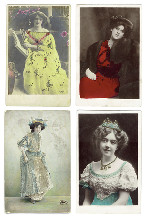 post cards: Used Antique 1900 - 1920 century post cards, London, United Kingdom Editorial