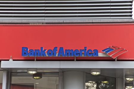 bank of america: Bank of America in Manhattan, New York, United States of AmericaNEW YORK - JUNE 06:Bank of America branch in New York, United States America. Photo taken on: August 17th, 2015.