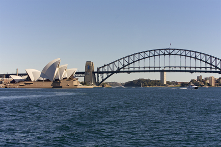 port jackson: Sydney Opera House and Harbor Bridge, Australia