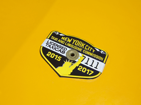 Taxi cab license and medallion  in New York City, Date from 2015 to 2017