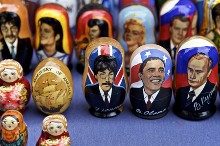 famous people: Russian Dolls of famous people, John Leonard, Barack Obama, Vladimir Putin displayed in New York City, USA Editorial