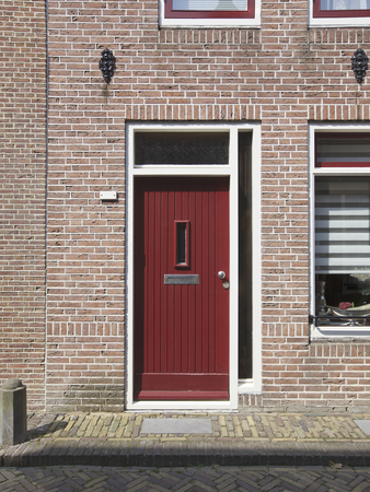 the netherlands: Red door, Netherlands Stock Photo