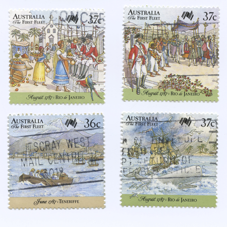 fleet: Set of Australia the First Fleet Stamps, shipping and exploring events