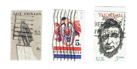 leif: UNITED STATES: Arrange of different used stamps Lief Erikson, Circus with clown icon and Henry David Thoreau, writer and  circa 1967. Printed in United States of America
