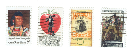 red america: UNITED STATES: Arrange of different used stamps of famous events and people. Red Indian, Chief Joseph from National Portrait Gallery, Johnny Appleseed, National Grange and John Turnbull of the battle of Bunkers hill. Printed in United States of America
