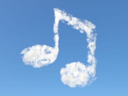 Music note from clouds photo