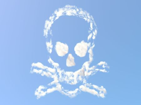 Skull and Bones formed from clouds Stock Photo - 7348885