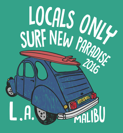 malibu: Car surfer, surf board, typography, graphic t-shirt