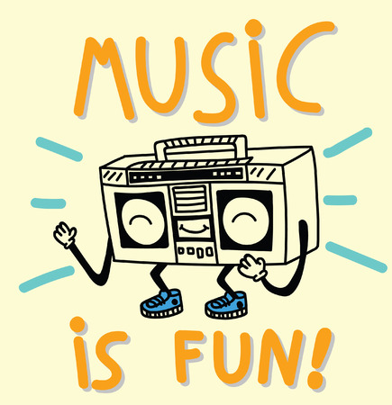 boombox: music, typography, funny boombox Illustration