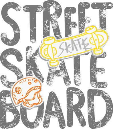 skate board: street skate board, typography