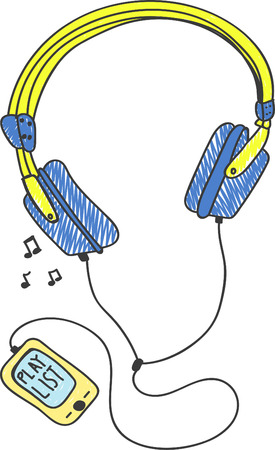 Hand drawn headphone, music player sketch Illustration