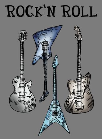 electric guitars: electric guitars, sketch illustration