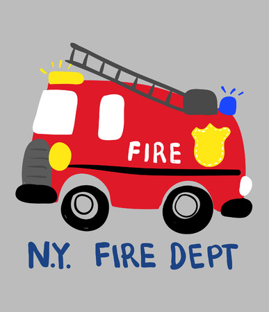 cute firetruck Vector illustration for kids and babies