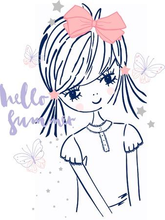 post teen: Beautiful romantic girlcute girlT-shirt Graphicsillustration